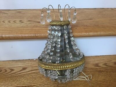 1 - Antique Bronze Crystal Beaded French Empire Chandelier Wall Sconce Germany