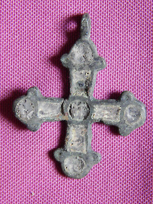 Early Christian Byzantine Bronze Cross with Enamel 10 - 12 century AD