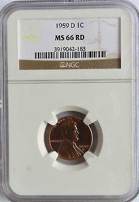 1959-D Lincoln Memorial Small Cent  MS 66 RD (Red)  NGC