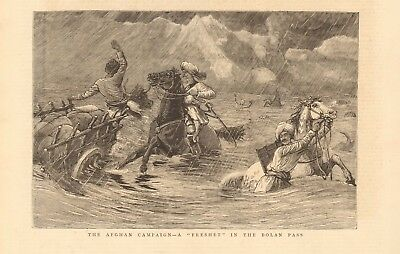 "1880 Antique Print - Afghan Campaign-""freshet"" In The Bolan Pass"