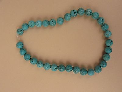 Vintage jewelry turquoise ? blue stone beads Chinese NECKLACE strand fine size