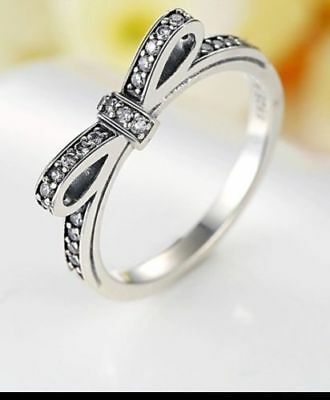 Solid 925 silver sterling Luxury Sparkling Delicate bow European Ring+gift pouch