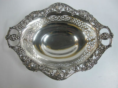 Pierced STERLING Silver GORHAM Large Footed Bowl Dish w/Grape Leaves Design