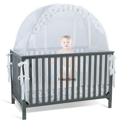 Baby Crib Tent Safety Net Pop Up Canopy Cover - Never Recalled No Fall Secure