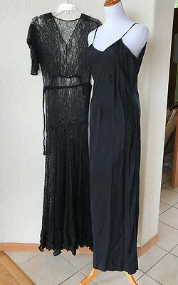 Vintage Edwardian Style Long Lace Dress Morticia Widow Black Small 2 Pc w Slip