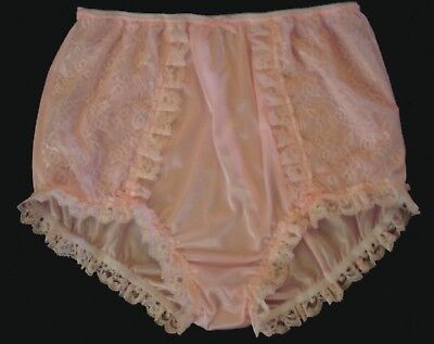 nel-jen Handmade Sissy ALL PINK TRICOT and LACE High Waist  Panties