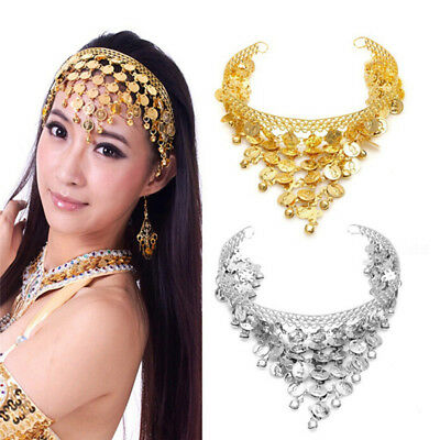 Women Belly Dance Accessories Costume Dancing Coin Sequins Hair Band Headband ZP
