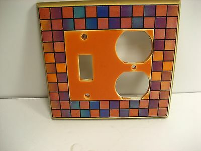 porcelain  Switch plate and outlet  cover single toggle Hand painted  Squares  C