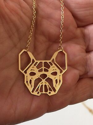 French Bulldog Detailed Gold Tone Necklace