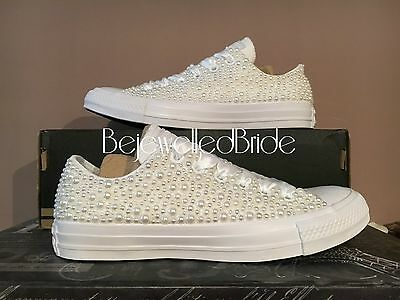 Gorgeous Wedding Converse All White, with white Pearls, all sizes available