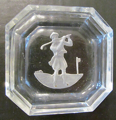 Clear Glass Ashtray/candy Dish W/kilted Golfer On Bottom-No Chips, Nice