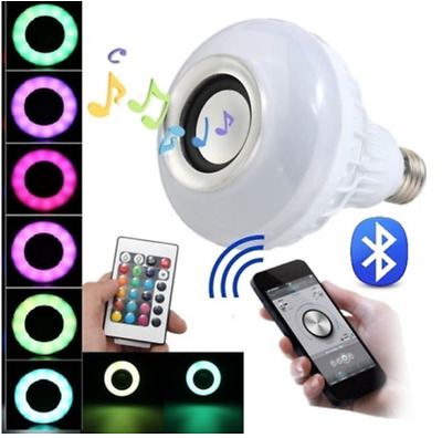 Wireless E27 Bluetooth LED Stereo Audio Speaker RGB Color Warm White Bulb Music