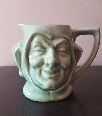 Toby Jug Jesters Face, Light Green, Unmarked