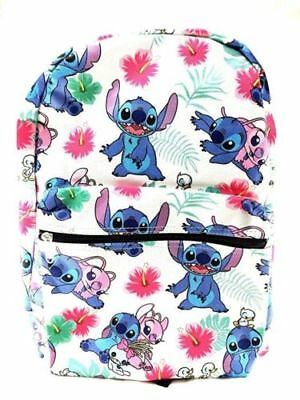 """Disney Lilo and Stitch Allover Print 16"""" Girls Large School Backpack-White"""