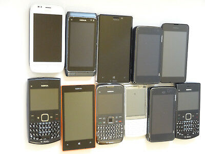 Lot of 11 Nokia Smartphones 5 T-Mobile Most Power On Most Good LCD AS-IS