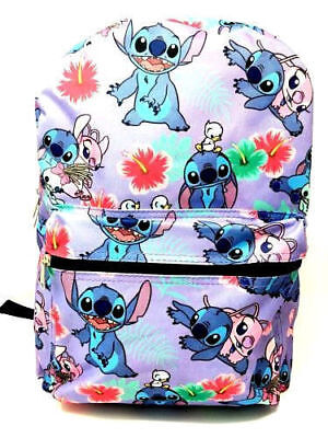 """Disney Lilo and Stitch Allover Print 16"""" Girls Large School Backpack-Purple"""