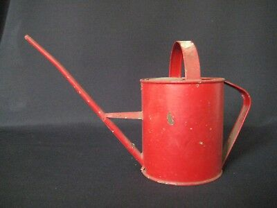Vintage Antique Italian Garden Child Size Red Watering Can Primitive Shabby