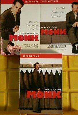 Monk TV Series - Complete Season 1, 3 and 4 DVD's Disc Set