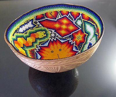 Mexican HUICHOL PRAYER BOWL Beaded Art Carved Gourd LG 6.9x6.4 Father Sun Peyote