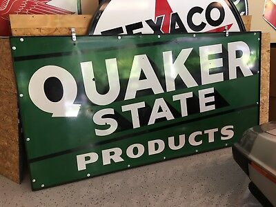 1940-50's Quaker State Double Sided Porcelain Station Sign - Original frame 8FT