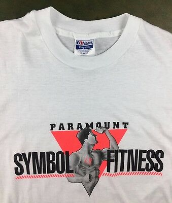 Vintage Mens XL 80s Paramount Symbol Fitness Gym Workout Muscle Man T-Shirt