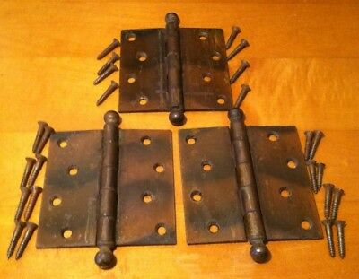 """Three Victorian Vintage Antique Copper-Flashed Door Hinges by Stanley 4 3/8"""""""