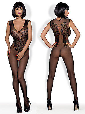OBSESSIVE N112 Luxury Super Soft Decorative Patterned Fishnet Bodystocking