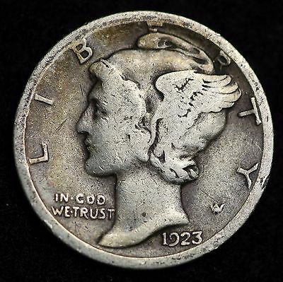 1923-S Mercury Dime / Circulated Grade Good / Very Good 90% Silver Coin