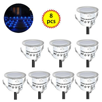 8pcs LED Bulbs Deck Light Garden Stair Outdoor Lamp Kit Warm White Waterproof