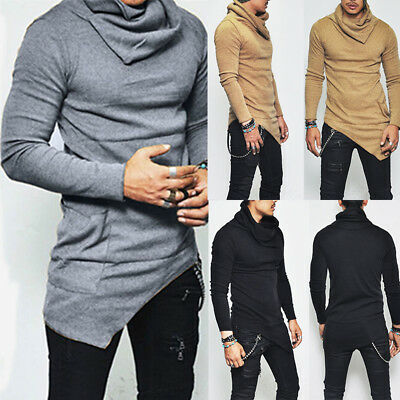 Ripped Men Tee Shirt Slim Fit Long Sleeve Polo Shirt Muscle Casual Tops T Shirts