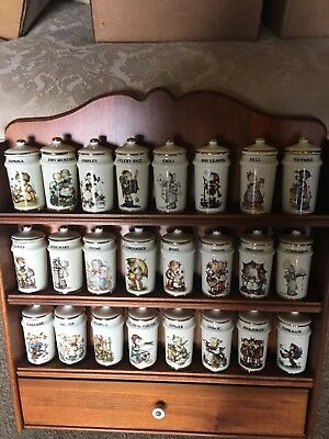 DANBURY MINT MJ HUMMEL SPICE JAR SET COMPLETE SET 24 pc & RACK