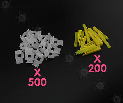 700 Tile Leveling System 500 Clips + 200 Wedges Floor Wall Spacers Level Tiling
