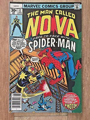 The Man Called Nova # 12 (Marvel, 1976) VF/NM 9.0 Face to Face with Spiderman