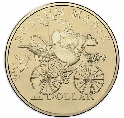 Australian One Dollar $1 - 2017 - POSSUM MAGIC Coin - Bicycle Hush - RAM Mint
