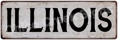 ILLINOIS Vintage Look Rustic Metal Sign Chic City State Retro 6185885