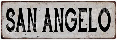 SAN ANGELO Vintage Look Rustic Metal Sign Chic City State Retro 6186029