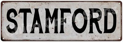 STAMFORD Vintage Look Rustic Metal Sign Chic City State Retro 6185928