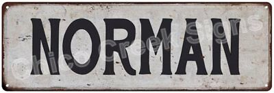 NORMAN Vintage Look Rustic Metal Sign Chic City State Retro 6185792