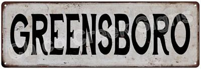 GREENSBORO Vintage Look Rustic Metal Sign Chic City State Retro 6186013