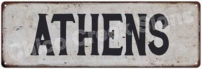 ATHENS Vintage Look Rustic Metal Sign Chic City State Retro 6185768