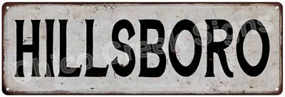 HILLSBORO Vintage Look Rustic Metal Sign Chic City State Retro 6185962