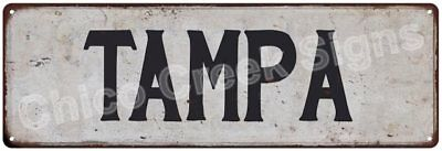 TAMPA Vintage Look Rustic Metal Sign Chic City State Retro 6185752