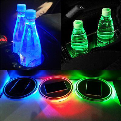 2X For All car Solar Cup Holder Bottom Pad LED Light Cover Trim Atmosphere Lamp