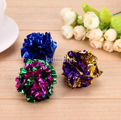12pcs Mylar Balls Shiny Crinkle Cat Pet Lightweight Play Gift FR