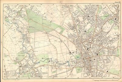 1906 Large Map-Bacon -Croydon, Carshalton, Thornton Heath,