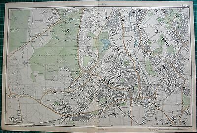 1906 Large Map-Bacon -Wimbledon, Tooting, Merton,
