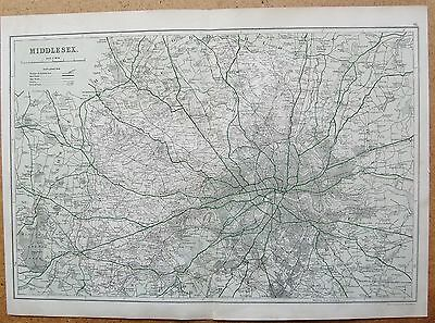 1912 Ca LARGE MAP-BACON - COUNTY OF MIDDLESEX