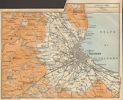 1912 Baedeker Antique Map- Italy- Plan Of Palermo And Environs