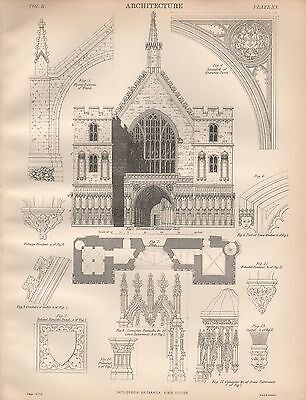 1884 Antique Print Other Architectural Antiques Proposed Restoration Of Exterior Of Westminster Hall Art