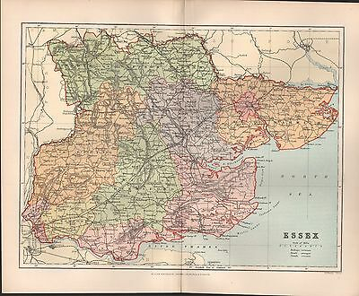 1895 Antique County Map- Essex Southend Barking Colchester Halstead Thaxted Harw